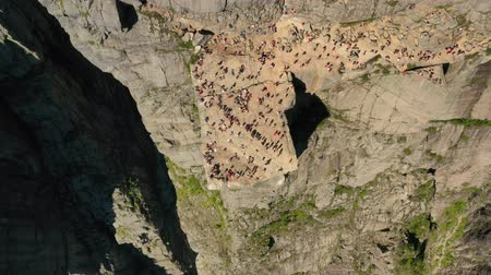 skalní útes : Aerial footage Pulpit Rock Preikestolen Beautiful Nature Norway