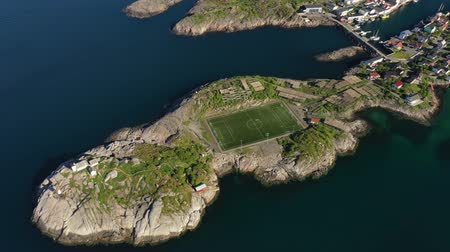 skandináv : Norway Lofoten Football field stadium in Henningsvaer from above.