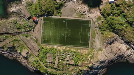 reszelt : Norway Lofoten Football field stadium in Henningsvaer from above.