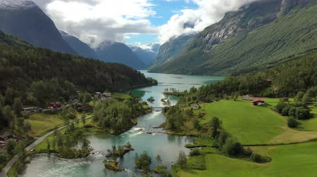 geiranger : Beautiful Nature Norway natural landscape. Aerial footage lovatnet lake Lodal valley. Stock Footage