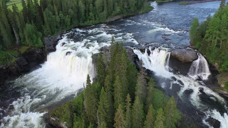 part of the frame : Ristafallet waterfall in the western part of Jamtland is listed as one of the most beautiful waterfalls in Sweden. Stock Footage