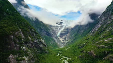 norvég : Beautiful Nature Norway natural landscape. Glacier Kjenndalsbreen aerial footage.
