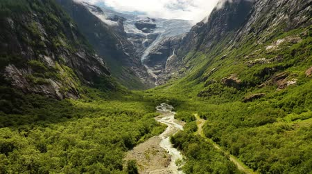 geiranger : Beautiful Nature Norway natural landscape. Glacier Kjenndalsbreen aerial footage.