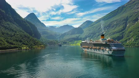 geiranger : Cruise Ship, Cruise Liners On Geiranger fjord, Norway. It is a 15-kilometre (9.3 mi) long branch off of the Sunnylvsfjorden, which is a branch off of the Storfjorden (Great Fjord).