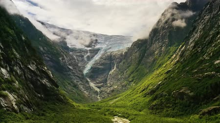 tracking : Beautiful Nature Norway natural landscape. Glacier Kjenndalsbreen aerial footage.