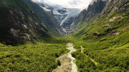 noors : Beautiful Nature Norway natural landscape. Glacier Kjenndalsbreen aerial footage.