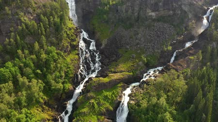 hordaland : Latefossen is one of the most visited waterfalls in Norway and is located near Skare and Odda in the region Hordaland, Norway. Consists of two separate streams flowing down from the lake Lotevatnet.