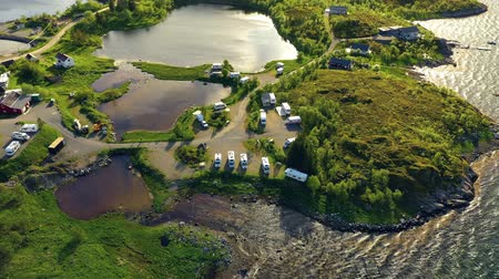 treyler : Beautiful Nature Norway natural landscape. Aerial view of the campsite to relax. Family vacation travel, holiday trip in motorhome RV. Stok Video