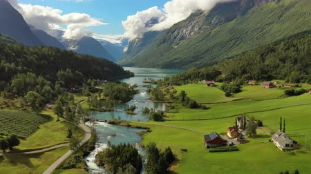 escandinavo : Beautiful Nature Norway natural landscape. Aerial footage lovatnet lake Lodal valley. Vídeos