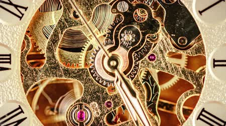 eternal : Spiral clock track of time at low depth of field. Focus on the gears.