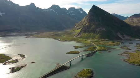 ismert : Fredvang Bridges Lofoten islands is an archipelago in the county of Nordland, Norway. Is known for a distinctive scenery with dramatic mountains and peaks, open sea and sheltered bays.