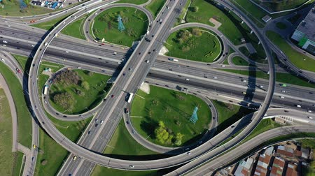 eyaletler arası : Aerial view of a freeway intersection traffic trails in Moscow.