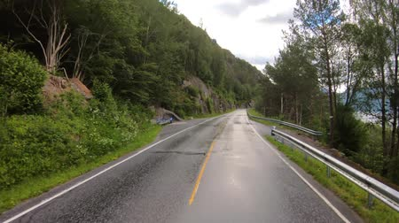eyaletler arası : Vehicle point-of-view Driving a Car on a Road in Norway