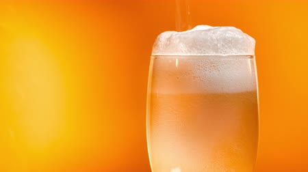quartilho : Lager beer settles in the glass with a white cap of foam