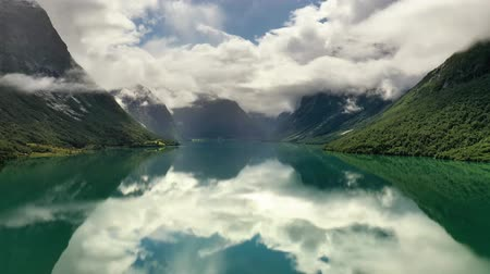 Beautiful Nature Norway natural landscape lovatnet lake.