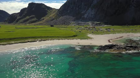 Скандинавия : Beach Lofoten islands is an archipelago in the county of Nordland, Norway. Is known for a distinctive scenery with dramatic mountains and peaks, open sea and sheltered bays, beaches Стоковые видеозаписи