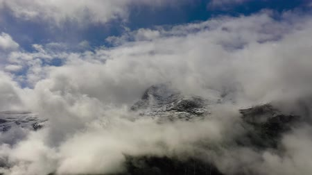 Mountain cloud top view landscape. Beautiful Nature Norway natural landscape