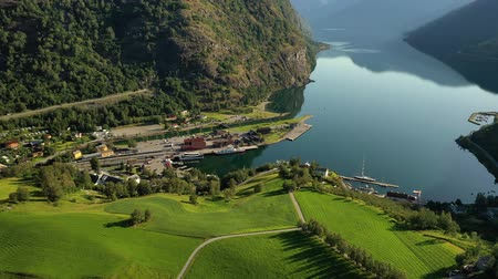Aurlandsfjord Town Of Flam at dawn. Beautiful Nature Norway natural landscape. Стоковые видеозаписи