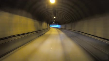 speed tunnel : Car rides through the tunnel point-of-view driving