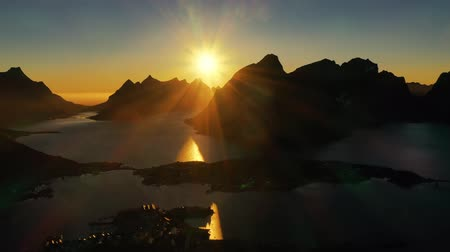 Evening sunset Lofoten Islands Norway. Reine Lofoten is an archipelago in the county of Nordland, Norway. Стоковые видеозаписи