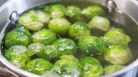 macrobiotic : Fresh green Brussel Sprouts Close up.