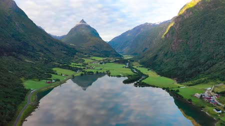 Aerial footage Beautiful Nature Norway