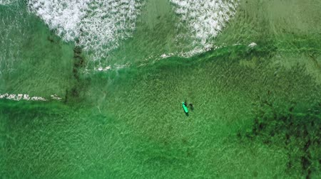 Two surfers in the sea, top view. Norway Lofoten Islands