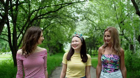 Outdoor walking on nature. Friendship meeting of young women. Three beautiful multi ethnic girls friends walks talks summer city park smiling laughing together. Portrait of cheerful best girlfriends. Stock Footage