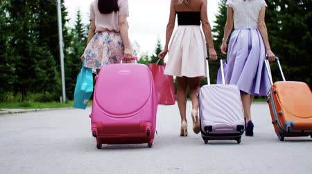 Three girls friends walk street. Young women carrying suitcases and shopping bags arrive to rest, back view. Elegant clothes and heels. Tourists on summer vacation trip travel tour journey together.