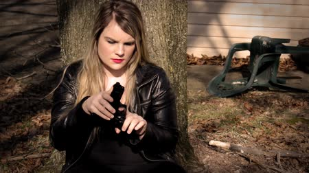 amendment : Female Secret Agent hides behind tree with gun V4   Action Movie Shots