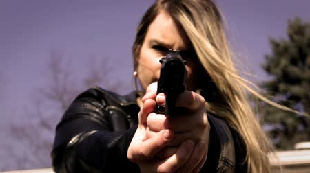 amendment : Female Secret Agent aims pistol at camera V2   Action Movie Shots