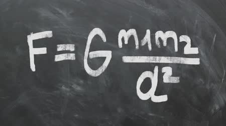 letter f : Isaac Newtons Gravitational Law Equation On Chalkboard. High-Quality Animation.
