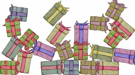 elle çizilmiş : Falling Hand Drawn Gifts Background On White Background. High-Quality Loopable Animation. Ideal For Your Christmas  Birthday Related Projects. Stok Video