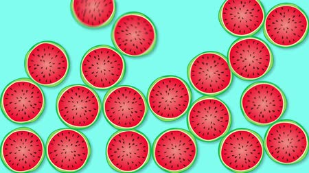 スイカ : Optimistic Watermelon Background. High-Quality, Minimalistic Animation. Great for Your Health  Fruit  Summer Related Projects. 動画素材