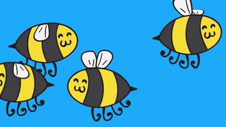 zumbido : Cute minimalistic bee  honeybee seamless animation. Perfect for all your insect  child  cartoon related projects. 1080p, 60fps Vídeos
