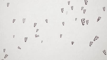 letter f : Hand Drawn Letter F Flying Over Old White Paper. High Quality Animation. Seamless loop, 1080p, 60fps