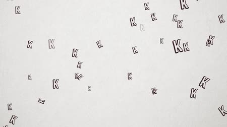 antique grunge : Hand Drawn Letter K Flying Over Old White Paper. High Quality Animation. Seamless loop, 1080p, 60fps Stock Footage