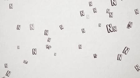el yazması : Hand Drawn Letter N Flying Over Old White Paper. High Quality Animation. Seamless loop, 1080p, 60fps