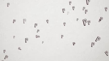 pólos : Hand Drawn Letter P Flying Over Old White Paper. High Quality Animation. Seamless loop, 1080p, 60fps