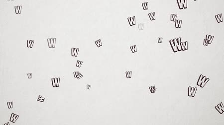 letter w : Hand Drawn Letter W Flying Over Old White Paper. High Quality Animation. Seamless loop, 1080p, 60fps