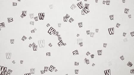 alfabeto : Hand Drawn Letter W Flying Over Old White Paper. High Quality Animation. Seamless loop, 1080p, 60fps