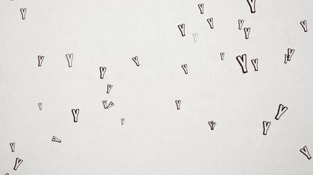 el yazması : Hand Drawn Letter Y Flying Over Old White Paper. High Quality Animation. Seamless loop, 1080p, 60fps