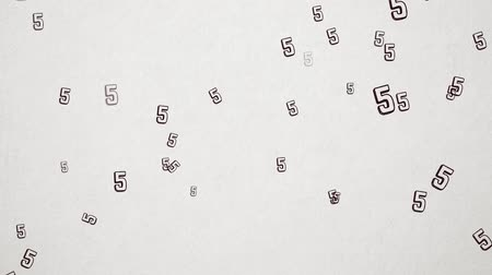 nyomdai : Hand Drawn  Doodled Number 5 Flying Over Old White Paper. High Quality Animation. Seamless loop, 1080p, 60fps Stock mozgókép