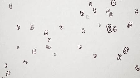 el yazması : Hand Drawn Number 6 Flying Over Old White Paper. High Quality Animation. Seamless loop, 1080p, 60fps