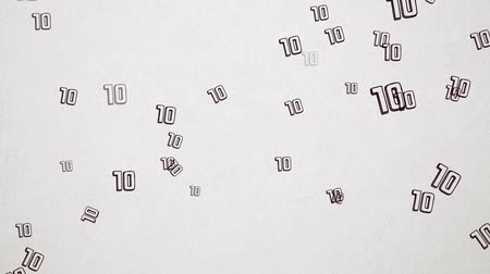 el yazması : Hand Drawn Number 10 Flying Over Old White Paper. High Quality Animation. Seamless loop, 1080p, 60fps
