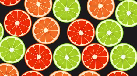 апельсины : Seamless Colorful Oranges, Limes, Grapefruits Background. High-Quality Animation. 4K, 60fps