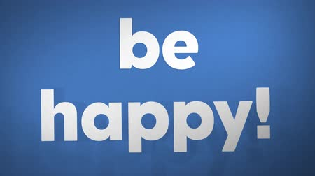ser : Be Happy On Blue. Optimistic, High-Quality Stop Motion Animation. 4K, 24fps. Stock Footage