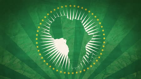národnost : Flag Of African Union. Paper Texture, With Seamlessly Spinning Printed Like Sunrays. High-Quality, Detailed Animation. 4K, 60fps