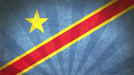demokratický : Flag Of Democratic Republic Of Congo. Paper Texture, With Seamlessly Spinning Printed Like Sunrays. High-Quality, Detailed Animation. 4K, 60fps