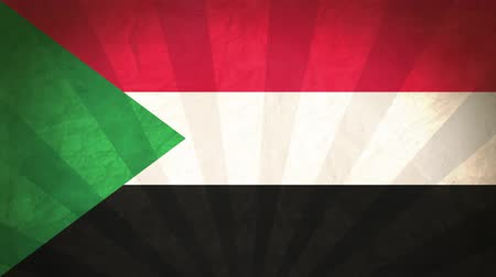 Flag Of Sudan. Paper Texture, With Seamlessly Spinning Printed Like Sunrays. High-Quality, Detailed Animation. 4K, 60fps
